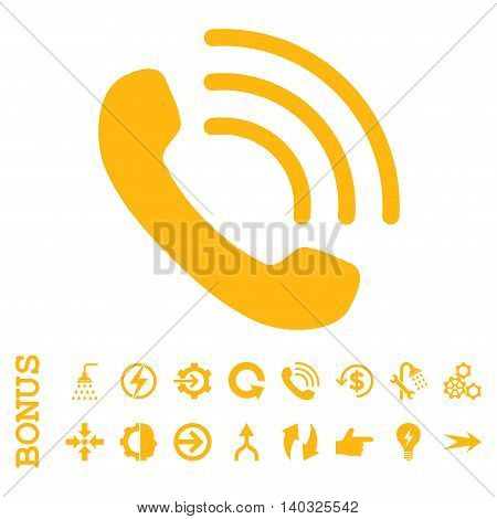 Phone Call glyph icon. Image style is a flat iconic symbol, yellow color, white background.