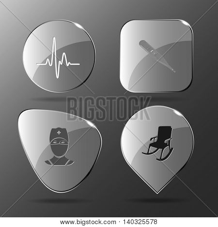4 images: cardiogram, thermometer, doctor, armchair. Medical set. Glass buttons. Vector illustration icon.
