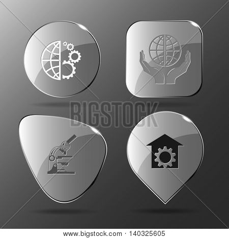 4 images: globe and gears, protection world, lab microscope, repair shop. Science set. Glass buttons. Vector illustration icon.