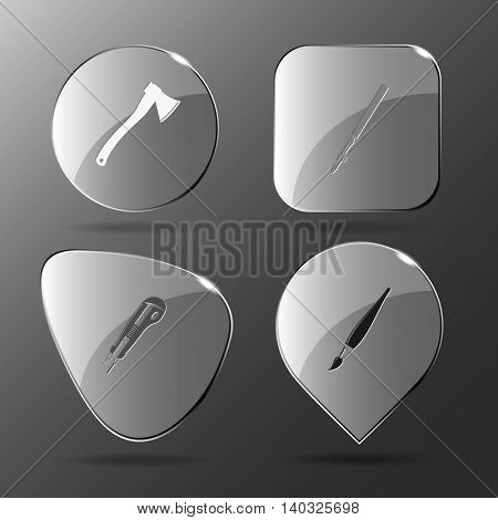4 images: axe, ruling pen, knife, brush. Angularly set. Glass buttons. Vector illustration icon.