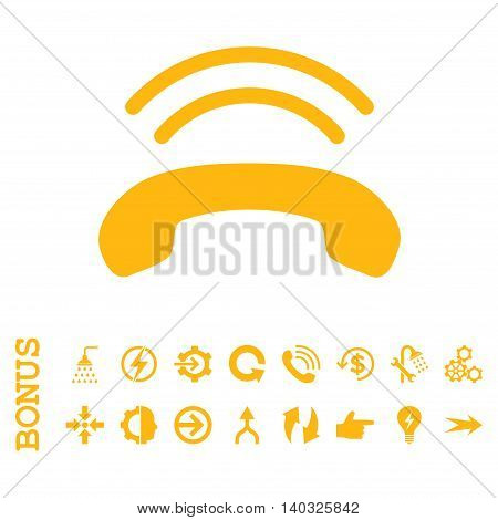 Phone Ring glyph icon. Image style is a flat iconic symbol, yellow color, white background.