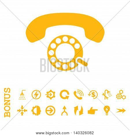 Pulse Dialing glyph icon. Image style is a flat pictogram symbol, yellow color, white background.