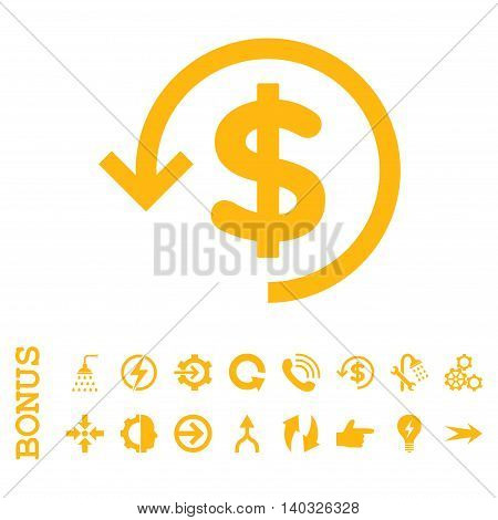 Refund glyph icon. Image style is a flat pictogram symbol, yellow color, white background.
