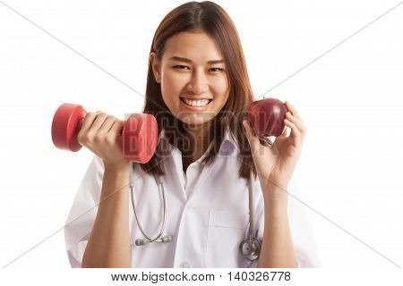 Young Asian Female Doctor  Hold Apple And Dumbbell.