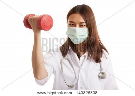 Young Asian Female Doctor Wear Mask With Dumbbell.