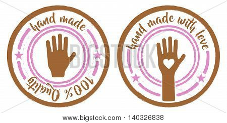 set of two hand made stamps pink and brown