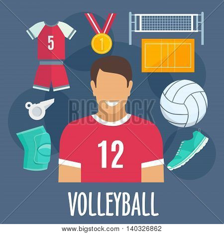 Volleyball sport equipment and outfit. Volleyball man player with vector icons of gold medal award, ball, sneaker shoe, whistle, knee protector, t-shirt