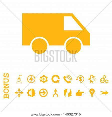 Van glyph icon. Image style is a flat iconic symbol, yellow color, white background.