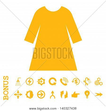Woman Dress glyph icon. Image style is a flat iconic symbol, yellow color, white background.
