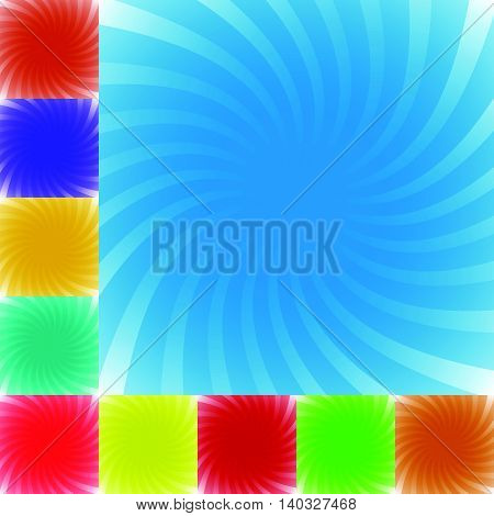 Twist, Spiral Background, Pattern Set In 9 Colors. Radiating, Converging Lines With Rotating Effect.