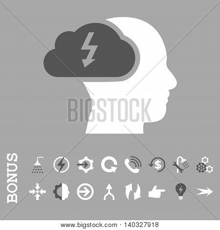 Brainstorming vector bicolor icon. Image style is a flat iconic symbol, dark gray and white colors, silver background.