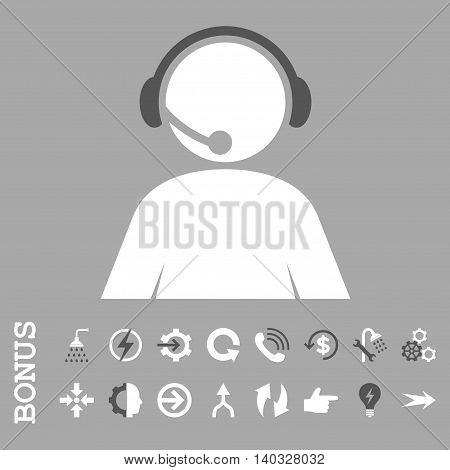 Call Center Operator vector bicolor icon. Image style is a flat pictogram symbol, dark gray and white colors, silver background.