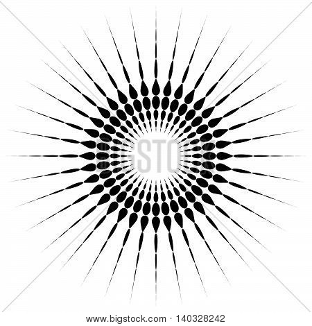 Circular Motif Element. Radial Dotted Lines With Irregular Profile