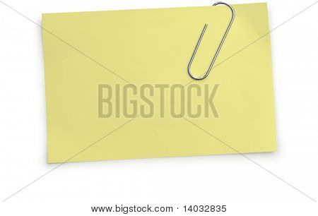 Paper clip holding a yellow memo paper on a white background with clipping paths