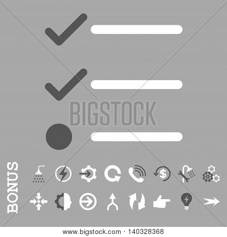 Checklist vector bicolor icon. Image style is a flat iconic symbol, dark gray and white colors, silver background.