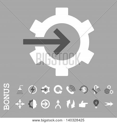 Cog Integration vector bicolor icon. Image style is a flat iconic symbol, dark gray and white colors, silver background.