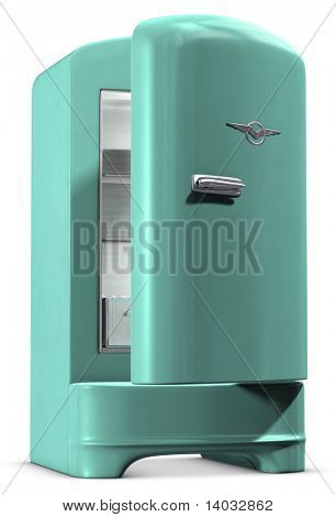 Un refrigerador color turquesa retro en blanco. Incluye Clipping Path!