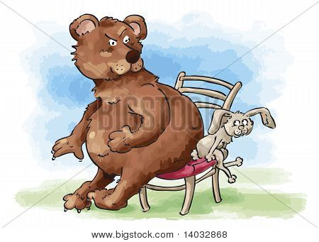 Bear And Rabbit Sharing Chair