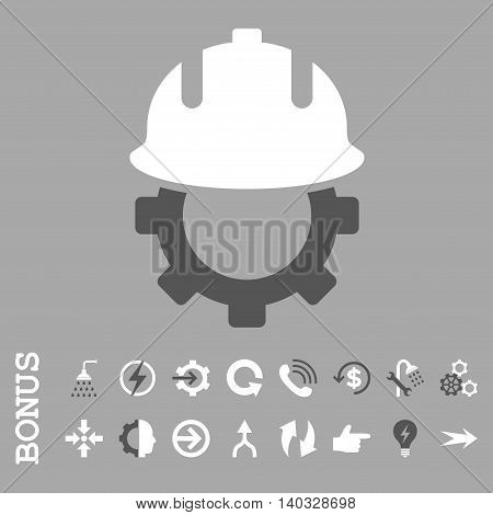 Development Helmet vector bicolor icon. Image style is a flat pictogram symbol, dark gray and white colors, silver background.