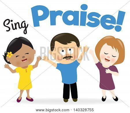 Illustration of a group of people singing praise