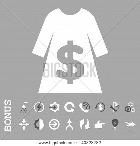 Dress Sale vector bicolor icon. Image style is a flat pictogram symbol, dark gray and white colors, silver background.