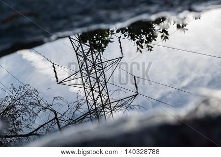 Reflection of power lines in a puddle
