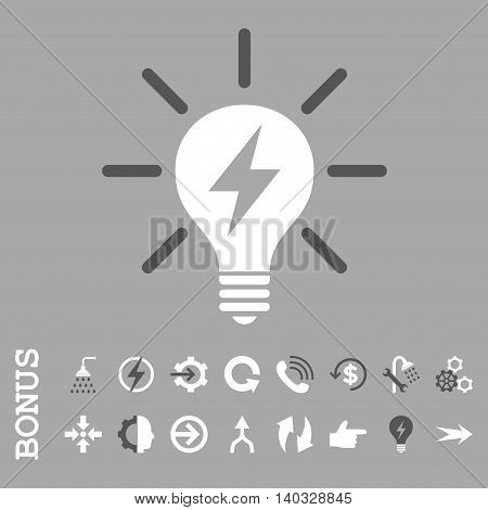 Electric Light Bulb vector bicolor icon. Image style is a flat iconic symbol, dark gray and white colors, silver background.