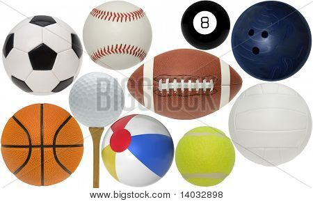Sport balls isolated with clippint paths on white background