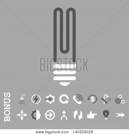 Fluorescent Bulb vector bicolor icon. Image style is a flat iconic symbol, dark gray and white colors, silver background.