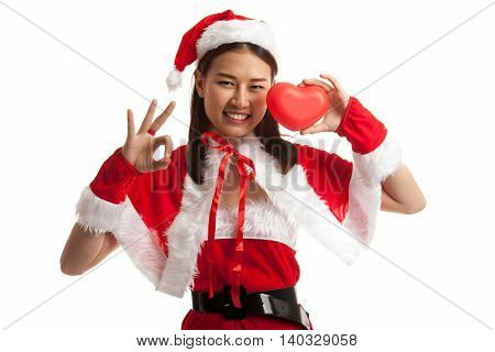 Asian Christmas Santa Claus Girl  Show Ok With Red Heart.