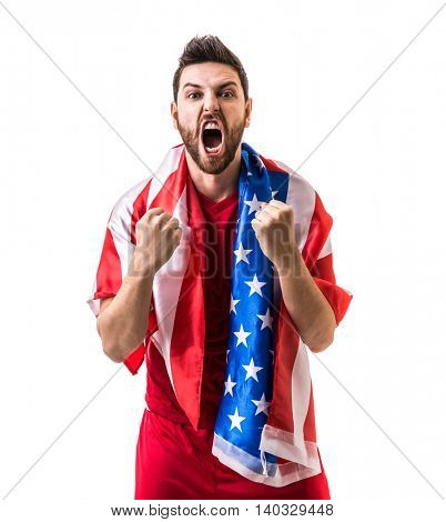Athlete celebrating and holding the flag of USA