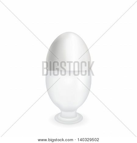 White natural egg, healthy food, the isolated food product, raw materials of poultry farm, firm shell, vertical egg on a white background