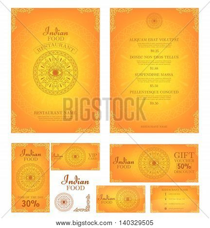 Indian Food. Restaurant menu template. Food flyer. Business card.  Vector.
