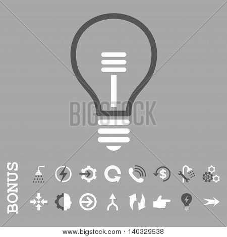 Lamp Bulb vector bicolor icon. Image style is a flat pictogram symbol, dark gray and white colors, silver background.