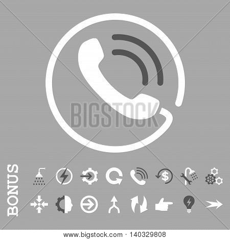 Phone Call vector bicolor icon. Image style is a flat iconic symbol, dark gray and white colors, silver background.