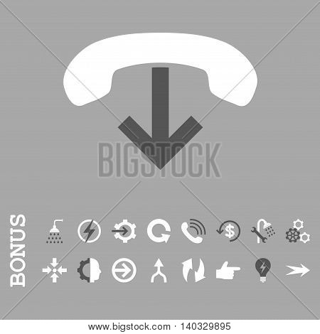 Phone Hang Up vector bicolor icon. Image style is a flat pictogram symbol, dark gray and white colors, silver background.