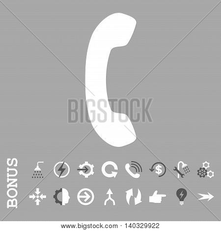 Phone Receiver vector bicolor icon. Image style is a flat pictogram symbol, dark gray and white colors, silver background.