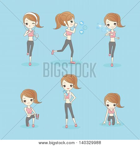 beauty sport woman is running and do another excercise