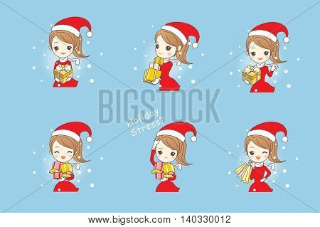 Cartoon happy woman wear christmas clothes and take gift and bags