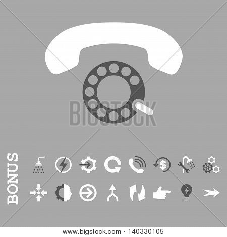 Pulse Dialing vector bicolor icon. Image style is a flat iconic symbol, dark gray and white colors, silver background.