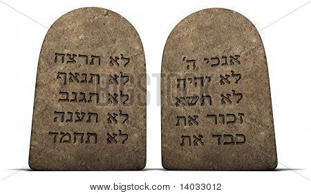 Ten Commandments on stone tablets isolated on a white background with clipping path