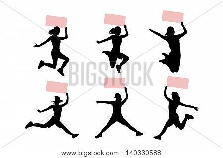 silhouette of woman show billboard with white background