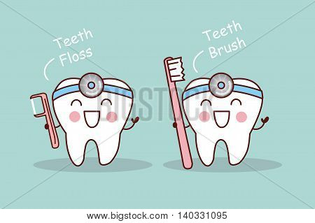 Happy cartoon tooth and dentist take toothbrush and floss