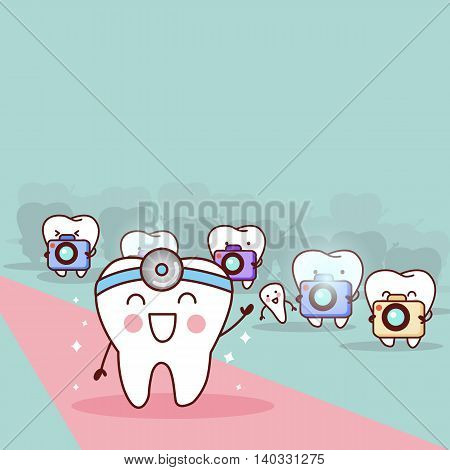 happy cartoon tooth and dentist with paparazzi