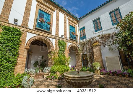Cordoba, Andalusia, Spain - April 20, 2016: El Patio of popular Palacio de Viana in Cordoba in Andalusia of Spain.