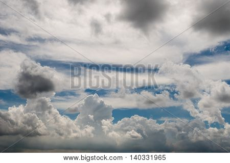 Formation of rain clouds before the rain come.