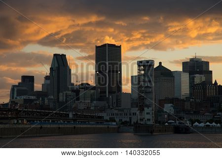 Beautiful sunset on downtown Montreal city in Canada