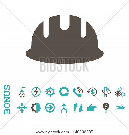 Builder Hardhat vector bicolor icon. Image style is a flat iconic symbol, grey and cyan colors, white background.