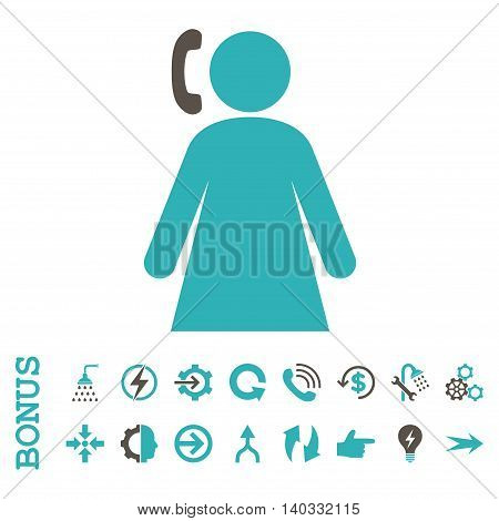 Calling Woman vector bicolor icon. Image style is a flat pictogram symbol, grey and cyan colors, white background.