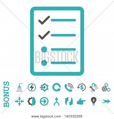 Checklist Page vector bicolor icon. Image style is a flat iconic symbol, grey and cyan colors, white background.